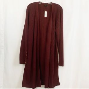Talbots | Burgundy Full Length Cardigan Sweater